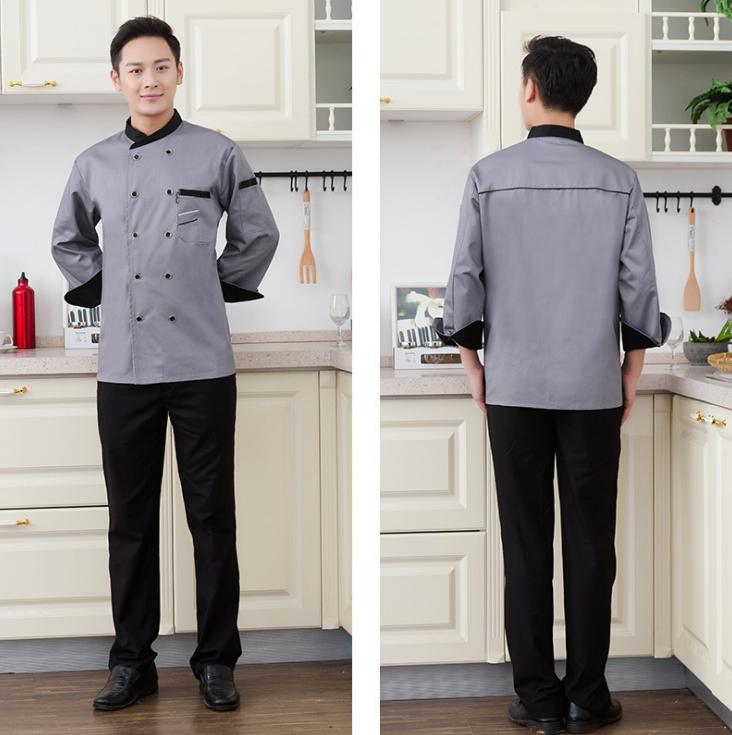 厨师服长袖 厨师工作服 厂服劳保服定制
