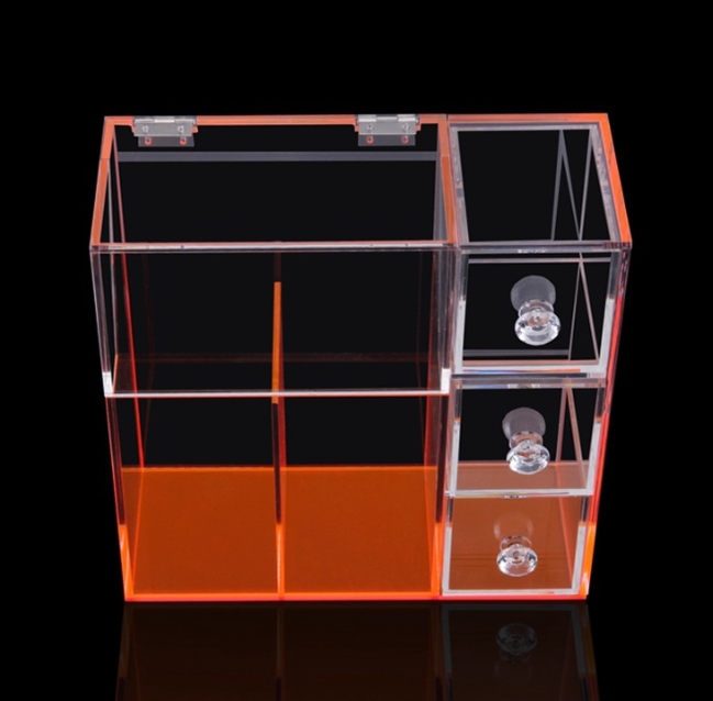 新款简易带抽屉工具刷架  化妆品刷架 带隔板亚克力板工具刷架 透明工具刷架 美妆工具刷架批发
