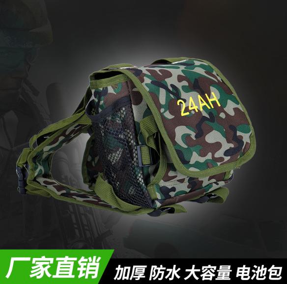 厂家直销迷彩12V电瓶背包户外24A H军带加厚版防水锂电池背包批发