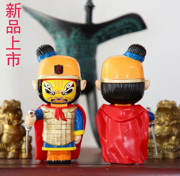 陕西京剧人物脸谱摆件 风雅堂Q版泥塑工艺品 加印logo纯手工制作