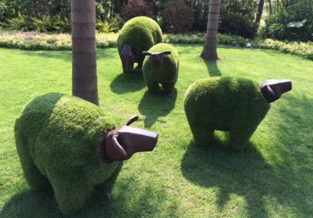 草皮羊肖恩羊绿植雕塑玻璃钢雕塑