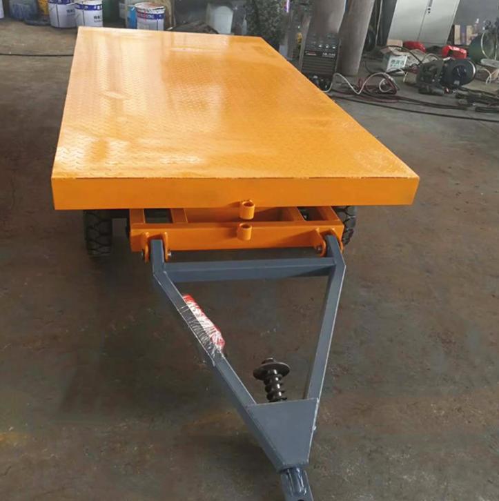 厂家定制牵引车小拖车厂区平板拖车重型四轮转向搬运车平板底盘