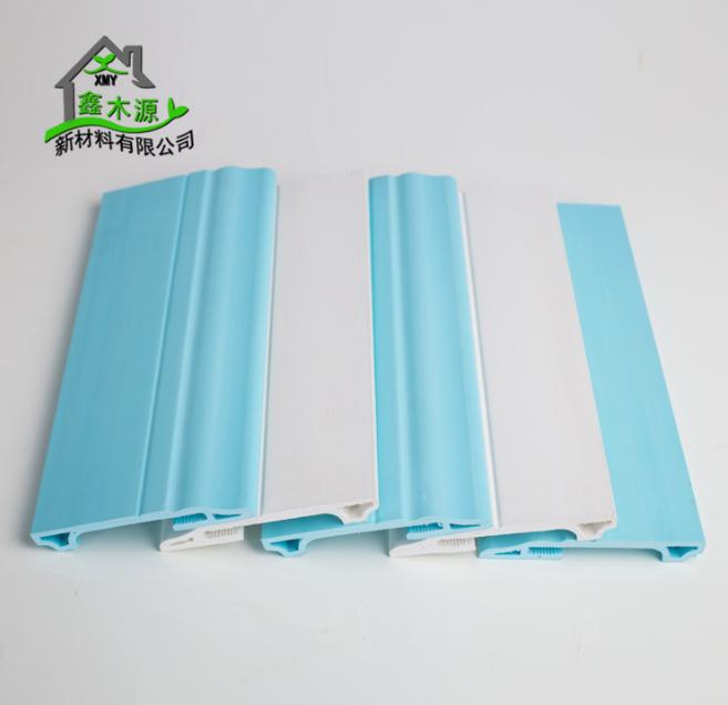 厂家直销生态木PVC踢脚线 新型装饰材料室内装饰线条100踢脚线