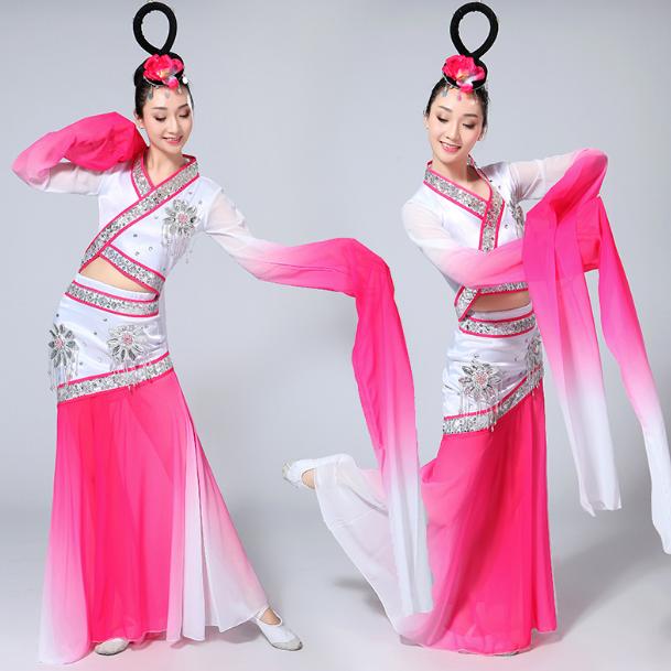 古典水袖舞蹈服装 秧歌服 2017新款采薇舞 服惊鸿舞蹈服装 表演服成 人女