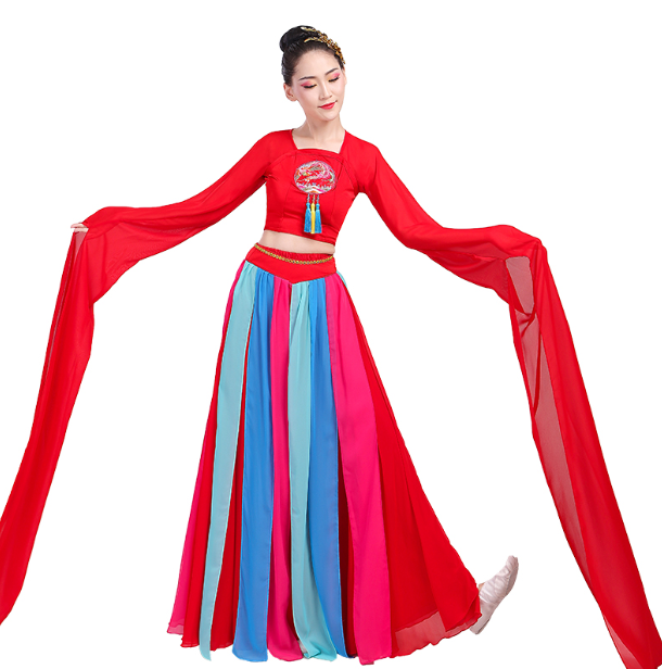 古典舞 水袖演出服女飘逸采薇汉服女 仙女伴舞长裙 现代舞蹈服装 伞舞伴舞长裙 伴舞长裙报价 伴舞长裙批发