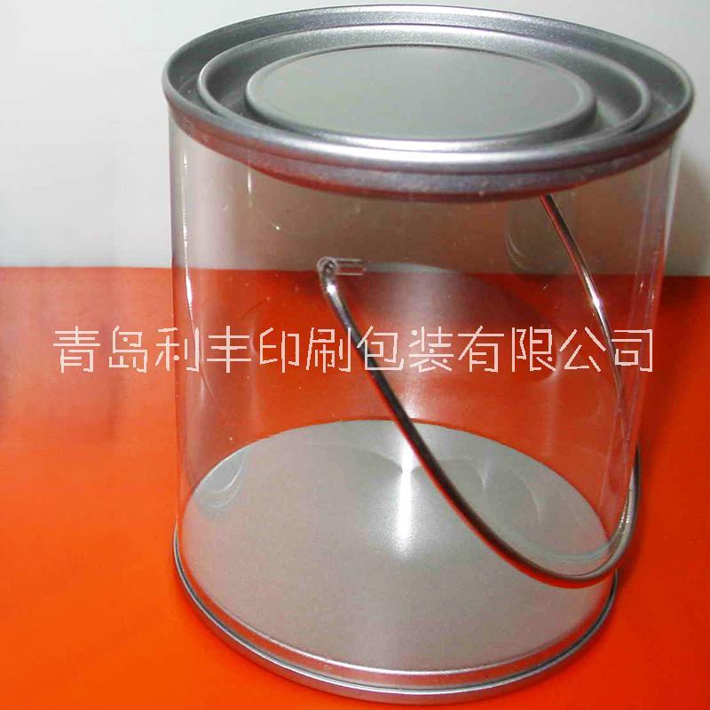 提手塑料PET马口铁罐/PET罐身马口铁盖底/花茶罐/衣服包装透明罐