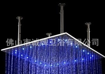 800MM温控LED顶喷花洒外贸款酒店泳池过道淋浴@三色温变情调