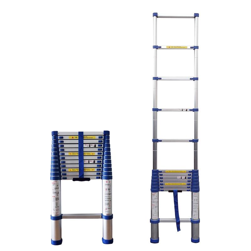 加多奇蓝色单面直梯加厚铝合金家用伸缩梯子便携竹节梯阁楼梯工程折叠步梯