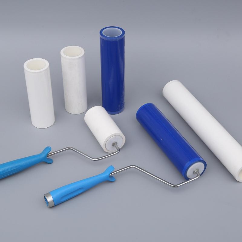 厂家直销蓝色白色无尘室PE 粘尘滚筒粘尘滚轮