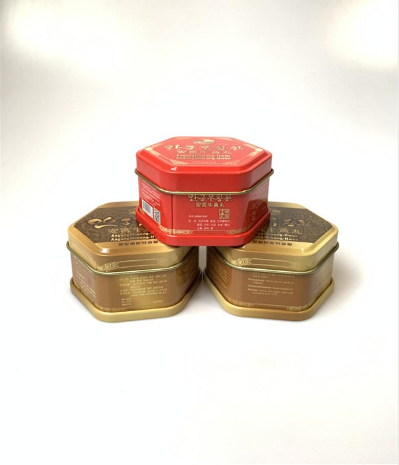 厂家定制药品包装盒 安宫牛黄丸六角形铁盒 六角罐马口铁金属盒 药品包装盒价格