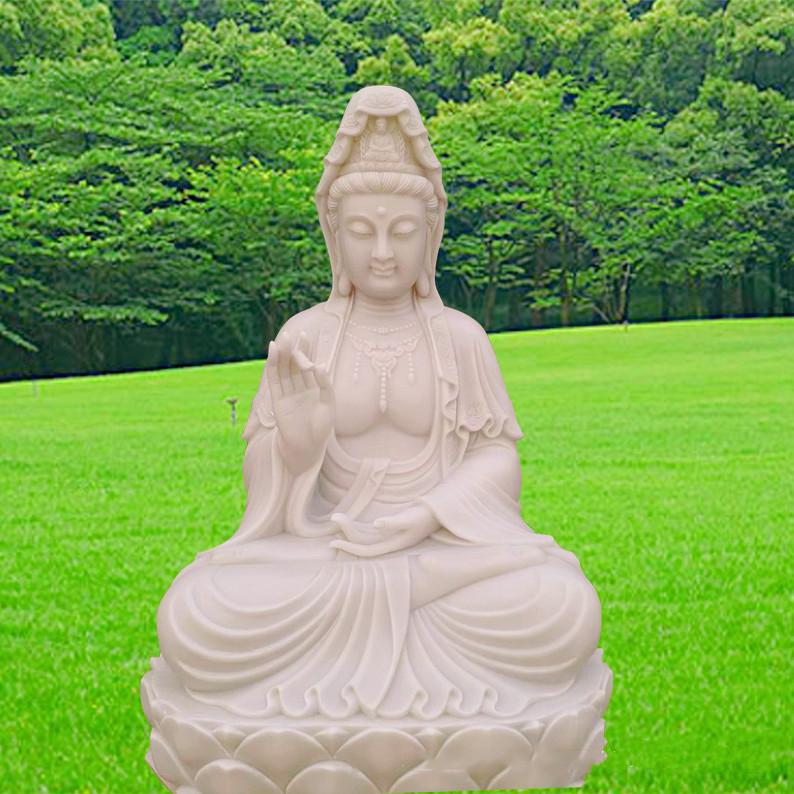 河北厂家直销观音佛像雕塑 天然石材制作经久耐用