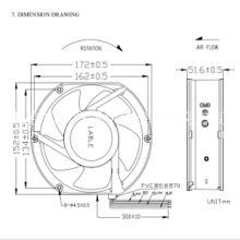 通信机柜散热风扇 HRE15051B48L  IP65户外防水 PWM调速风机48V图片