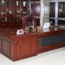 佛山中式老板桌厂家直销 实木大班桌 实木皮封边办公家具 商业办公桌可定制