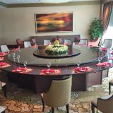 博美达 20人位电动餐桌 酒店大圆桌 自动旋转餐桌 钢木结合 佛山实木餐桌厂家