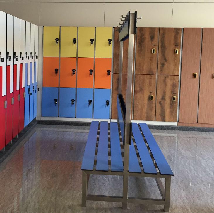 抗倍特板椅子 长板椅子 不锈钢架子 更衣室椅子 厂家定制