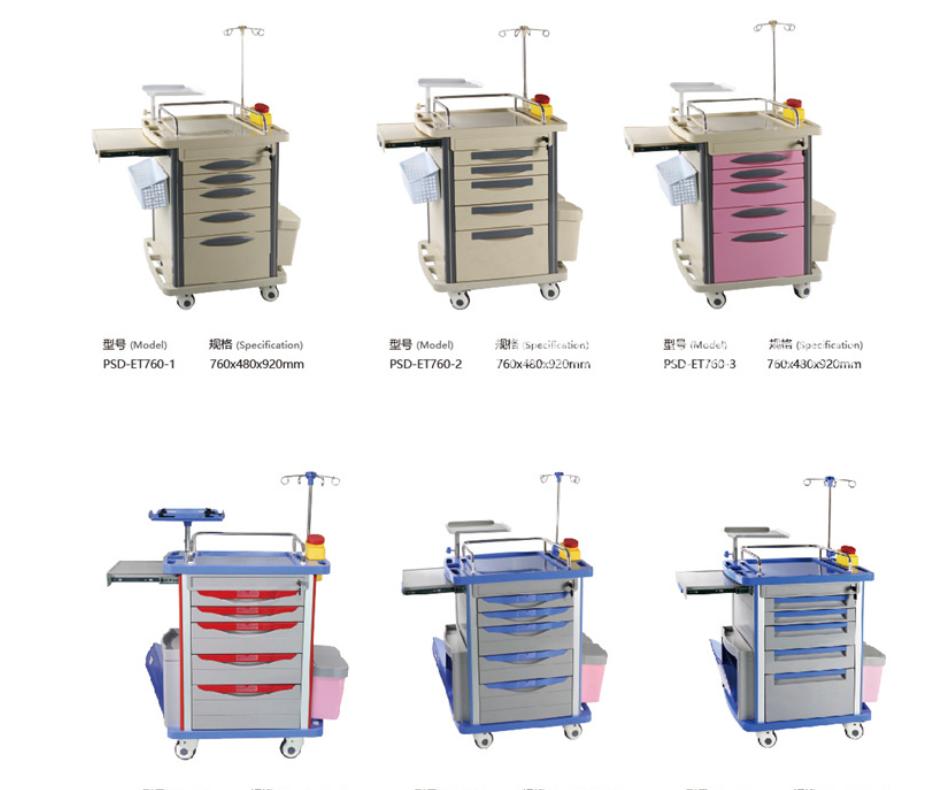 输液车医院ABS手术输液车五抽屉对开门双排麻醉盒护