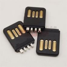 USB 2.0 A公双面插 大电流公头 全塑夹板式 4P两面插头 黑胶 USB 2.0 A公双面插头