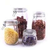 密封罐 透明玻璃不锈钢卡扣食品罐 五谷杂粮收纳蜂蜜瓶