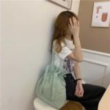 日系简约抽绳荷叶包单肩包女韩国ins百搭抽带学生手提布袋水桶包